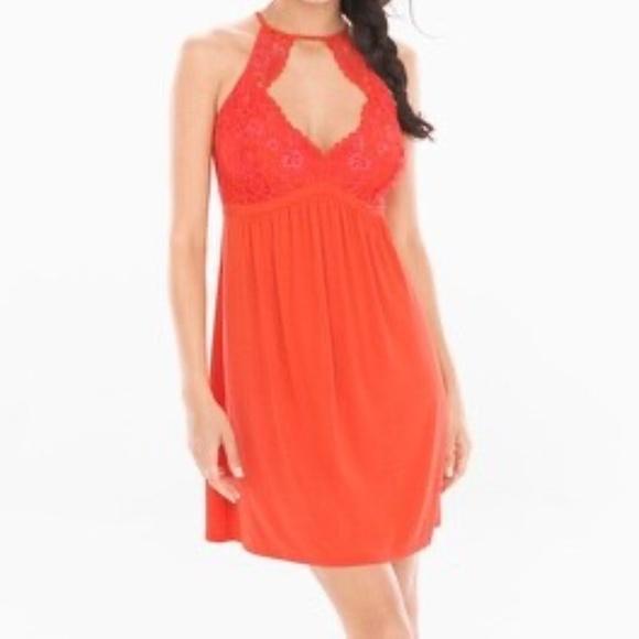 NWT Orange SOMA shimmer floral CHEMISE babydoll XL